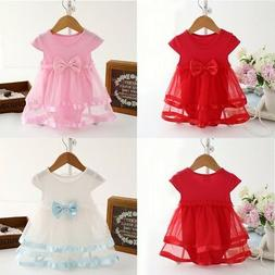 0-24M  Baby Girl Kid Bow Tulle Tutu Dress Princess Party Out