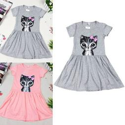 1-6Y Baby Girls Kid Princess Short Sleeved Casual Party Cat