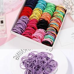 100PCS/Lot Girls Candy Colors Nylon 3CM Rubber Bands Childre