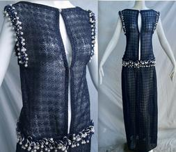 CHANEL 10P Metallic NAVY Gown Pearl Embellished Sleeveless L