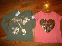 2 Girls The Children's Place Shirts Daddy's Girl/Dinosaurs S