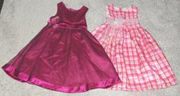 2 CHEROKEE RARE EDITION DRESSES Pink PLAID SIZE 5 girls NWOT