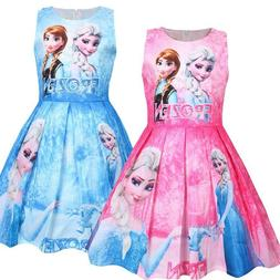 2019 Girls Princess Print Pleated Skirt Thin  Kids Dress