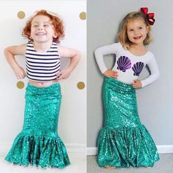2Pcs Toddler Kids Girl Mermaid T Shirt Top Long Dress Skirt