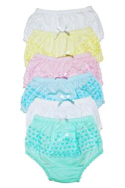 4 Girls Ruffle Panties Kids Toddler Underwear Cotton Solid C