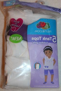 Fruit of the Loom 5 Toddler Girls' White/Purple Tanks Tank T