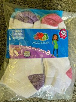 Fruit of the Loom 6 pack Girls' Low Cut No Show Socks Size L