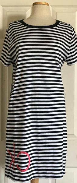 $60 NWT Womens Calvin Klein Big CK Logo Striped Knit T-Shirt