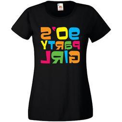 90's Party Girl T-Shirt Ladyfit Womens Retro Pop Star Fancy