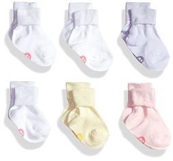 Fruit of the Loom Baby Girls Comfy 6 Pack Crew Socks, White/