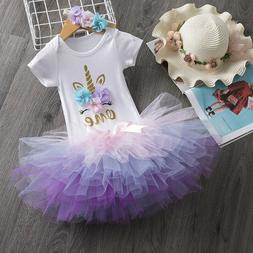Baby Girl 1st Birthday Unicorn Dress Outfits Set Toddler Gir