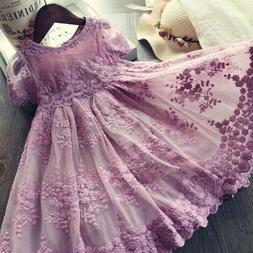 Baby Girl Dress Lace Embroidery Princess Tutu Party Purple S