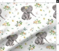 Baby Girl Elephant Floral Butterfly Nursery Fabric Printed b
