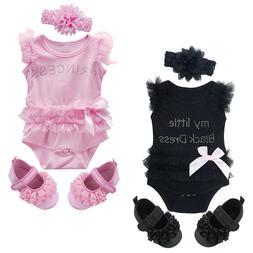 3PCS Baby Girl Lace Bodysuit Set Newborn Dress Infant Prince