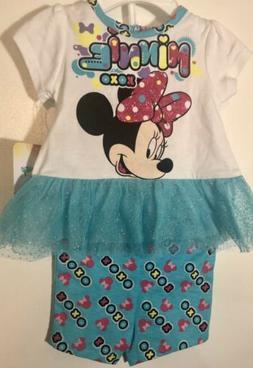 Disney Baby Girl Minnie Mouse 2 Piece Short Set Size 0-3 mon