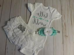 Baby Girl, Newborn Size Outfit, Hello World, White Lace Bloo
