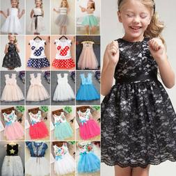 Baby Kids Flower Girls Lace Dresses Party Wedding Princess T