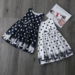 Baby Kids Girls Polka Dots Birthday Party Dress Girl Summer