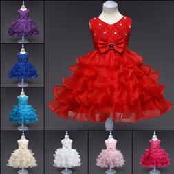 Baby Kids Girls Princess Bow Tutu Dress Wedding Bridesmaid P