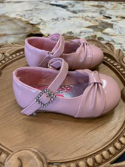 Josmo Baby Toddler Girls Dress Shoe with Bow Gloss Finish Si