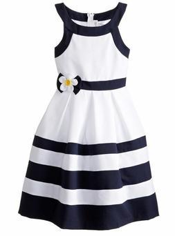 Bonnie Jean Big Girls' Nautical Dressy  Striped Navy Banded