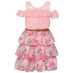 Real Love Big Girls Pink Cold-Shoulder Floral Tiered Belted