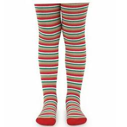 Jefferies Socks Big Girls Red Green White Striped Holiday Fo