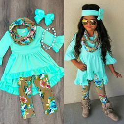 Boutique Toddler Kids Baby Girl Flower Top Dress Pants Leggi