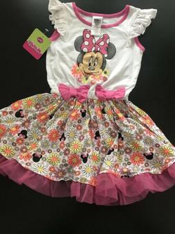 Brand New Disney Minnie Mouse Pink/White Flower Dress Toddle