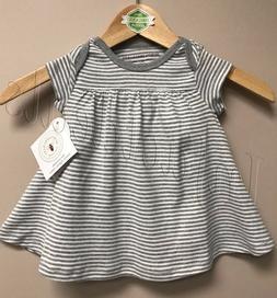 Burt's Bees Baby Girl 100% Organic Cotton Stripe Dress Gray