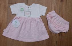 Burt's Bees Baby Girl Dress & Bloomers Set ~ Pink & White ~