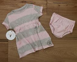 Burt's Bees Baby Girl Dress & Bloomers Set ~ Pink & Beige ~