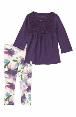 Burt's Bees girl organic cotton outfit/set:crochet tee leggi