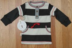 Burt's Bees Baby Girl Rugby Stripe Henley Dress ~ Ash, Ivory