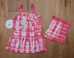 Burt's Bees Baby Girl Tie Dye Dress & Bike Shorts Set ~ Pink