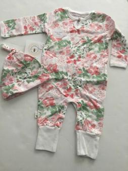 Burts Bees Organic Baby Girl Coverall Hat Set Size 6 9 12 18