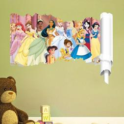 Cartoon Princess Wall Stickers For kids Room Snow Girl 3d Ki