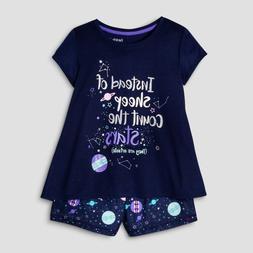 Cat & Jack Girls' Count the Stars Nightfall Blue 2 Piece Paj