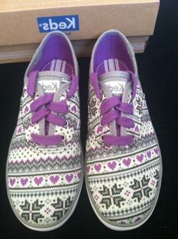 Keds Champion Fair Isle Print Sneaker Little Girls Size 13M.