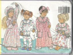 Children's Pattern for Robe, Nightgown, Hat & PJs, Butterick