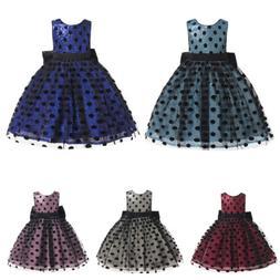 Children Sequined Dress Girl's Polka Dot Big bow Princess Go