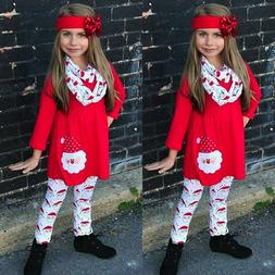 Christmas Dress Tops And Pants Outfit Set Dresses For Girls