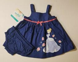 Disney Cinderella Infant Baby Girl 2 Piece Dress Set Blue 0-