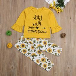 Cute Toddler Kids Baby Girls Floral Top T-shirt Pants Leggin
