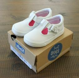 Keds DAPHNE Toddler Girl Size 5 M White Leather T strap Snea
