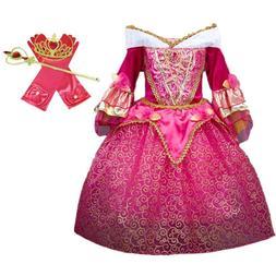 DH Sleeping Beauty Princess Aurora Girls Costume Dress Cospl