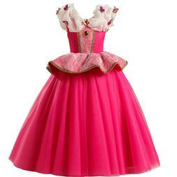 Disney Aurora Princess Dress Kids Girls Cosplay Party Hallow