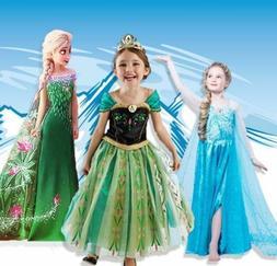 ELSA Frozenn Girls Inspired Princess Dress Anna Elsa Party F