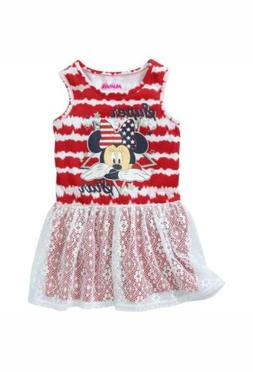 Disney Minnie Mouse Toddler Girl's Sleeveless Dress With Lac
