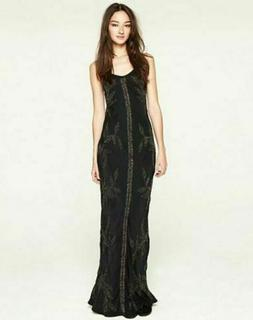 Lucky Brand Dynasty Maxi Dress Black Embellished Gown Metal